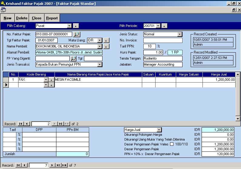 Faktur Pajak Standar  Software Pajak Indonesia  Krishand Faktur