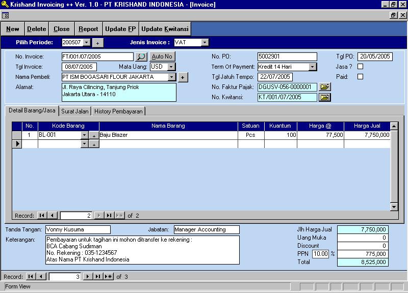 Contoh tampilan layar input transaksi invoice