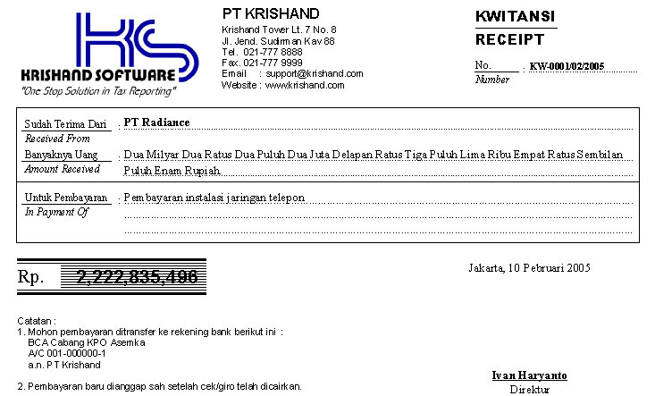 Software Program Krishand Kwitansi Cetak Bukti