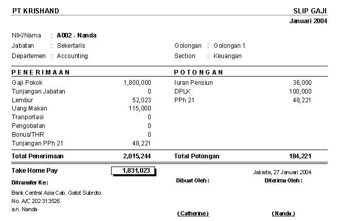 Contoh laporan slip gaji sederhana yangdihasilkan oleh program